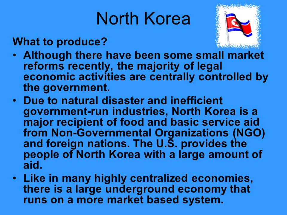 North Korea What to produce