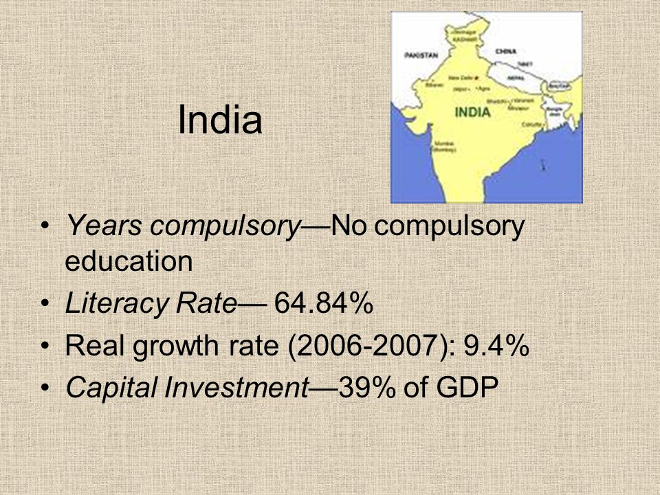 India Years compulsory—No compulsory education Literacy Rate— 64.84%
