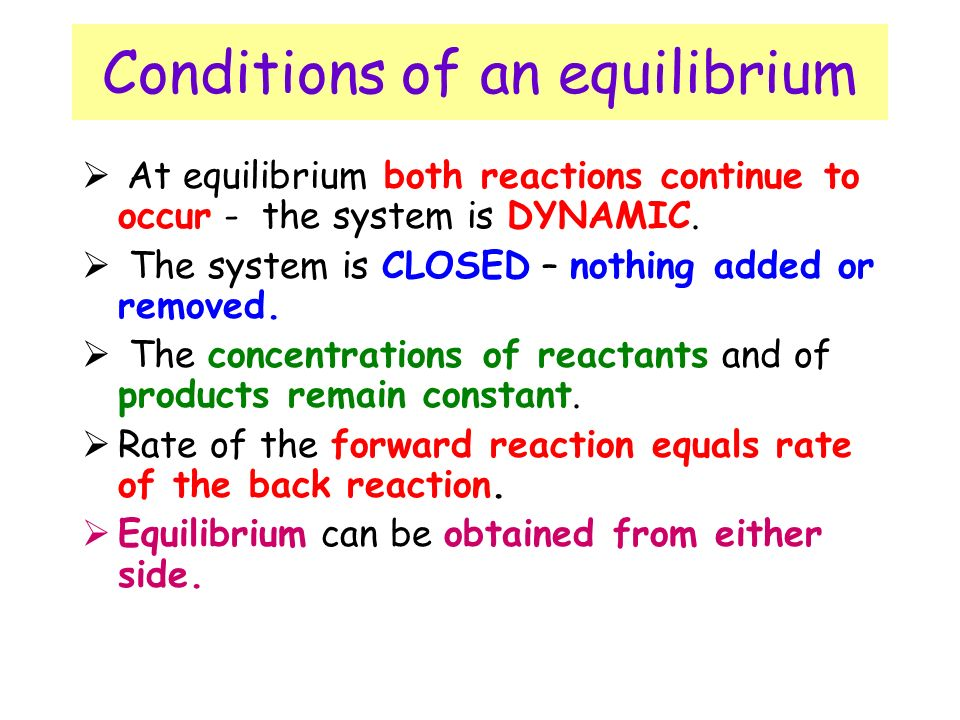 Conditions of an equilibrium