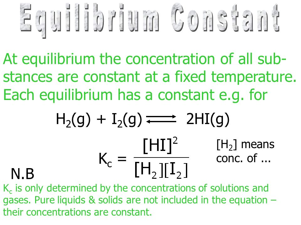 At equilibrium the concentration of all sub-