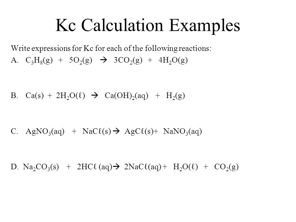 Kc Calculation Examples