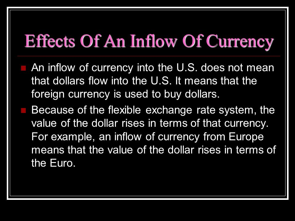 Effects Of An Inflow Of Currency