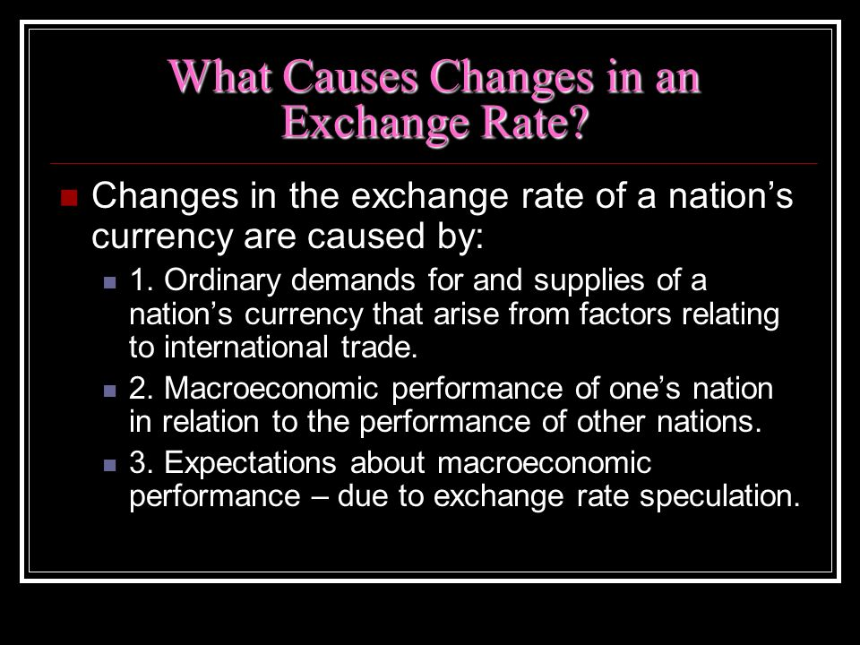 What Causes Changes in an Exchange Rate