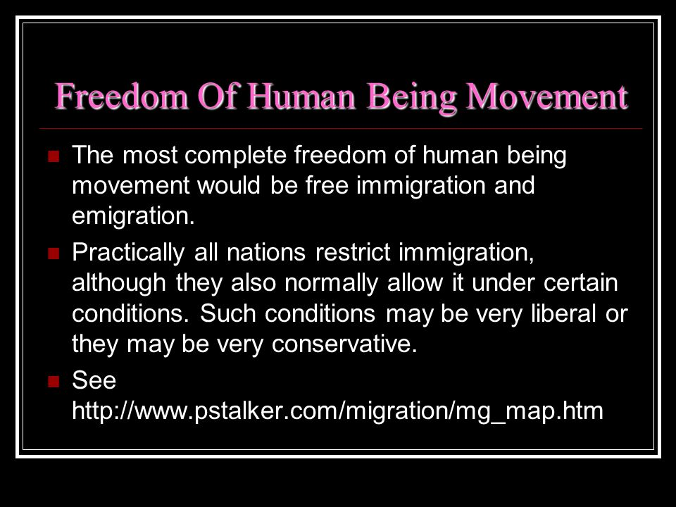 Freedom Of Human Being Movement