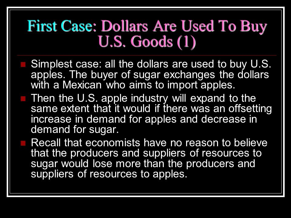 First Case: Dollars Are Used To Buy U.S. Goods (1)