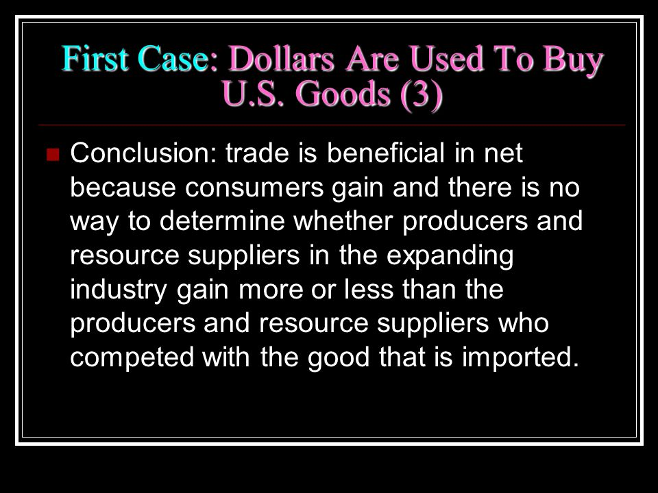 First Case: Dollars Are Used To Buy U.S. Goods (3)