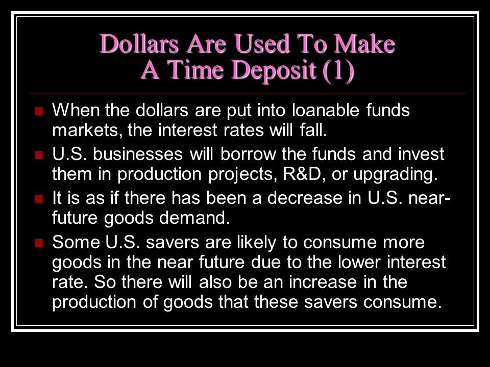 Dollars Are Used To Make A Time Deposit (1)