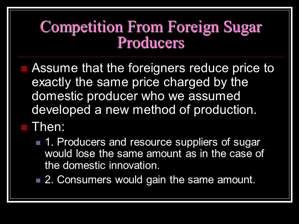 Competition From Foreign Sugar Producers