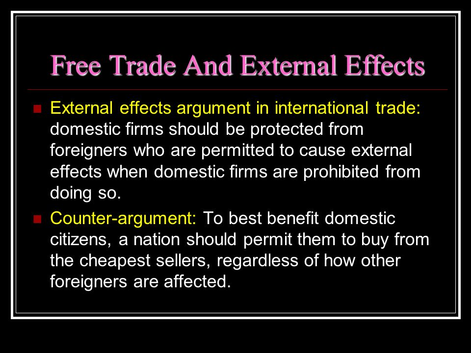 Free Trade And External Effects