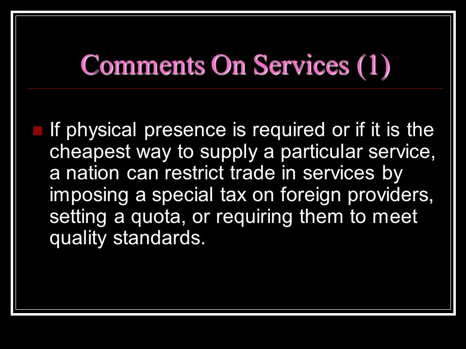Comments On Services (1)