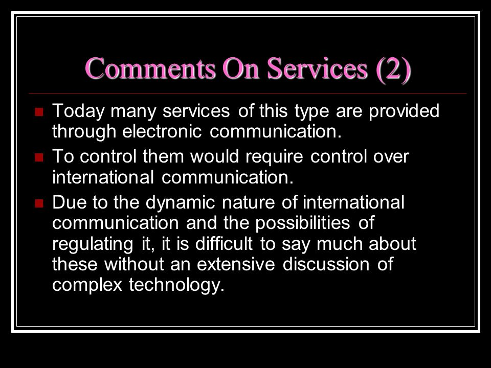 Comments On Services (2)