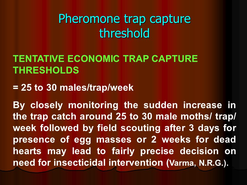 Pheromone trap capture threshold