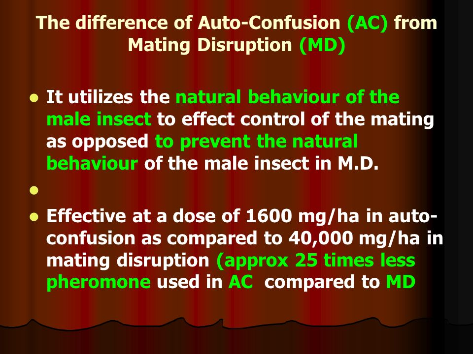 The difference of Auto-Confusion (AC) from Mating Disruption (MD)