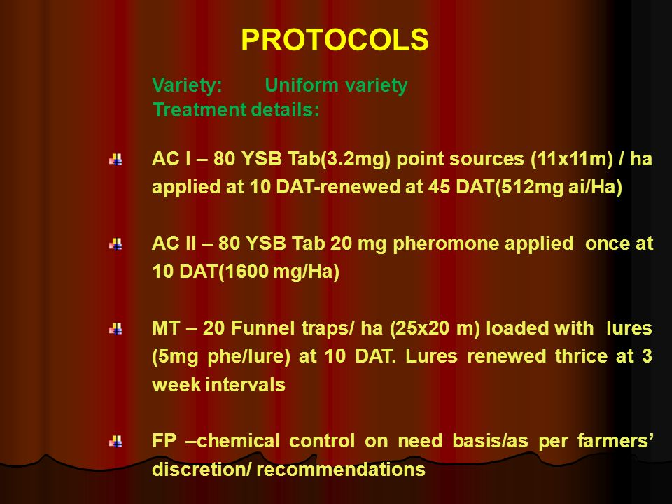PROTOCOLS Treatment details: