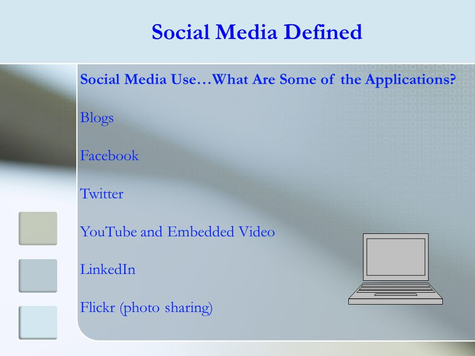 Social Media Defined Social Media Use…What Are Some of the Applications Blogs. Facebook. Twitter.