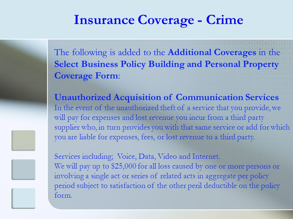 Insurance Coverage - Crime