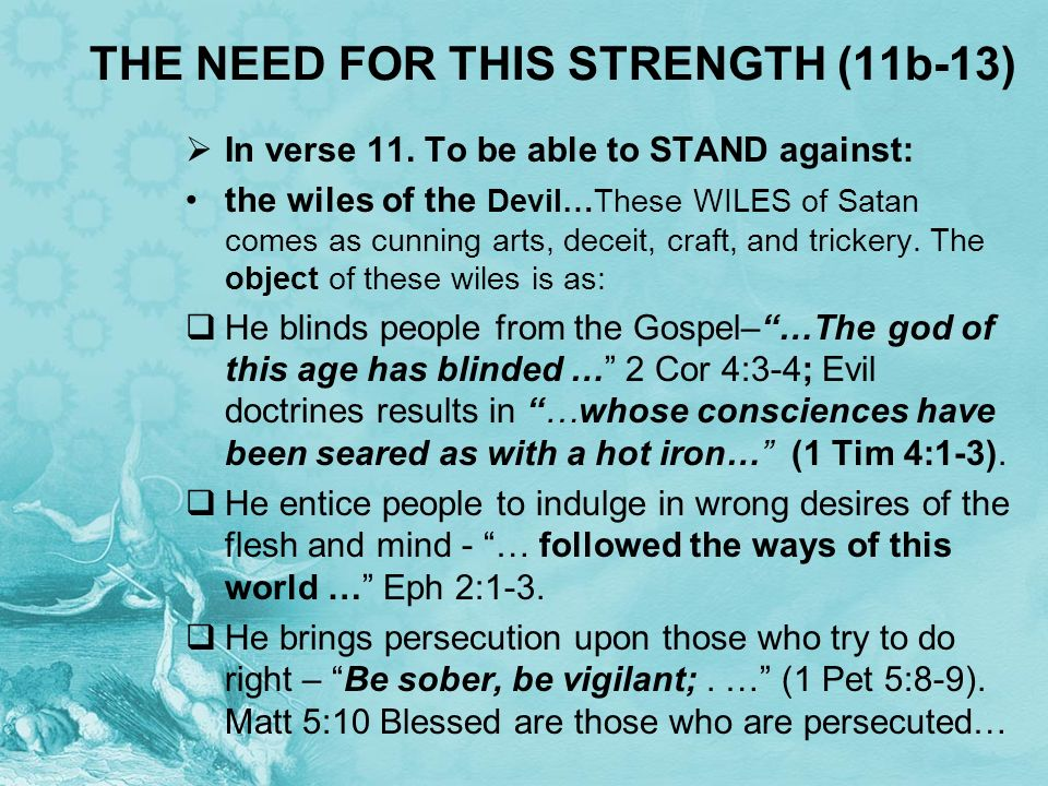 THE NEED FOR THIS STRENGTH (11b-13)