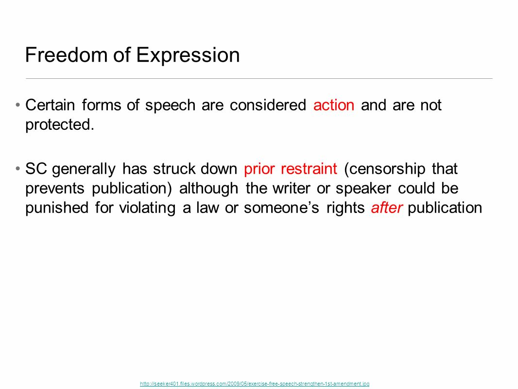 Freedom of Expression Certain forms of speech are considered action and are not protected.