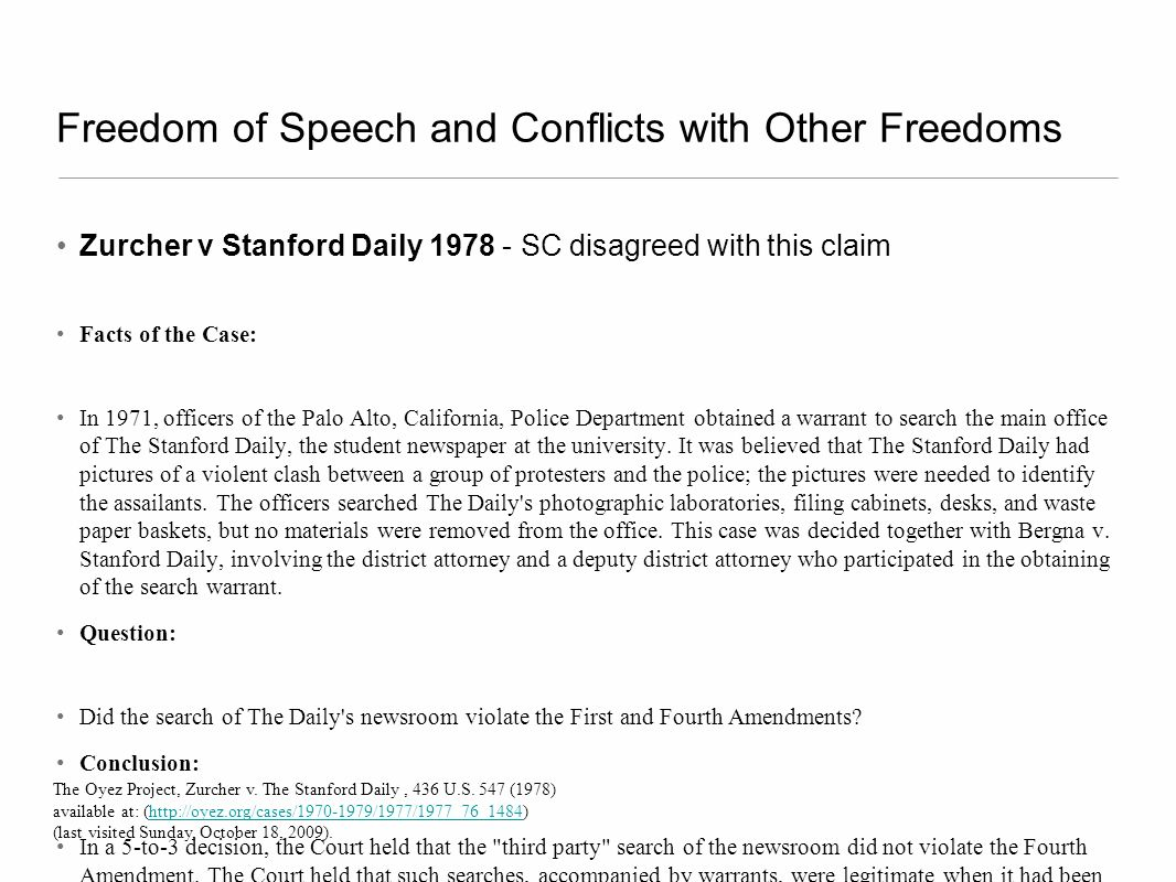 Freedom of Speech and Conflicts with Other Freedoms