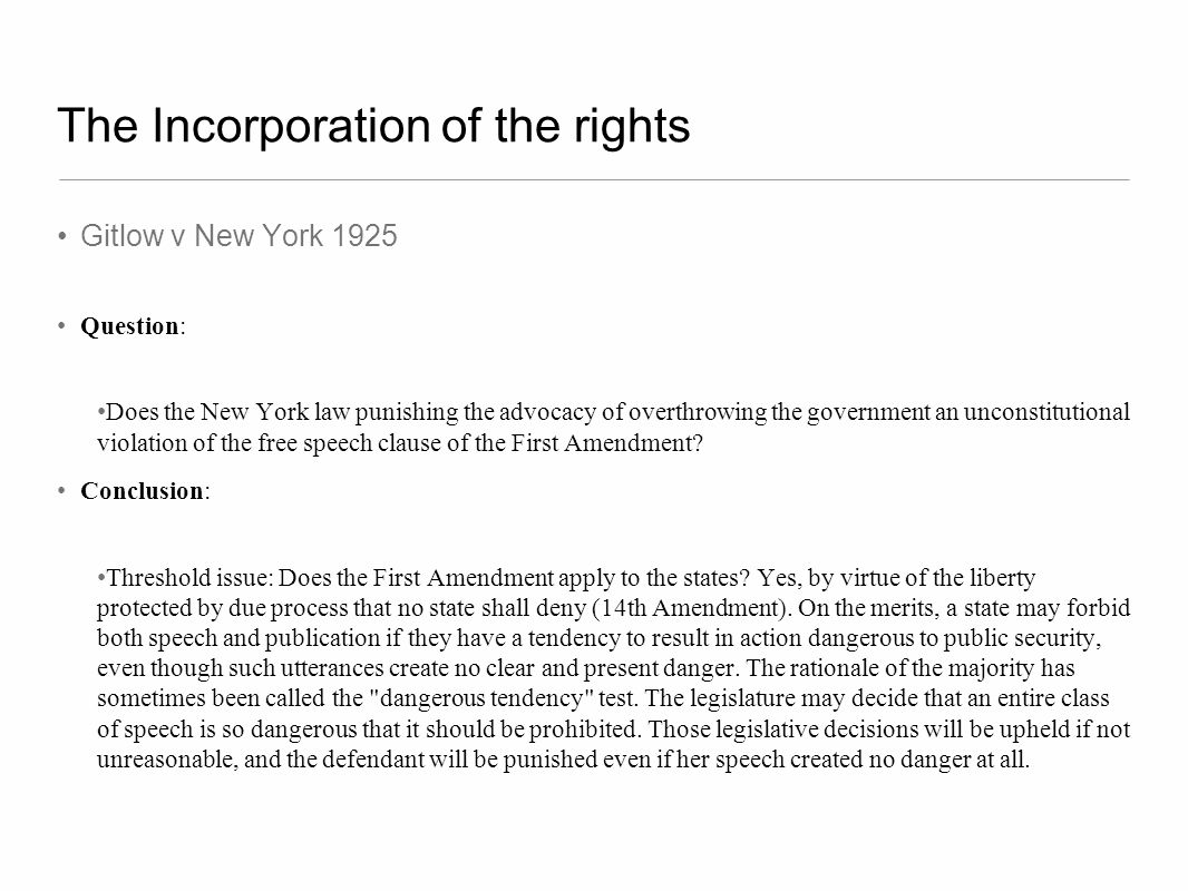 The Incorporation of the rights