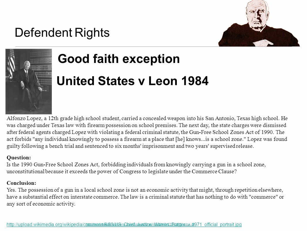 Defendent Rights Good faith exception United States v Leon 1984