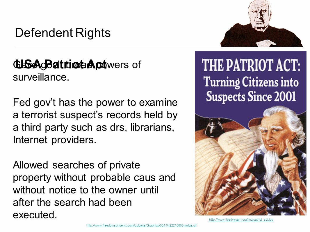 Defendent Rights USA Patriot Act