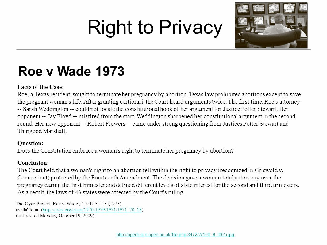 Right to Privacy Roe v Wade 1973 Facts of the Case: