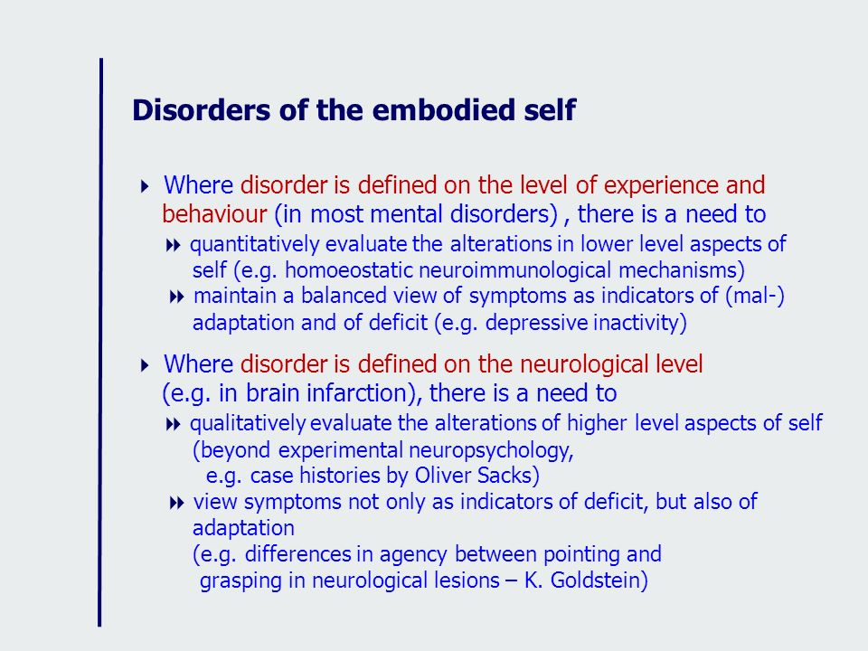 Disorders of the embodied self