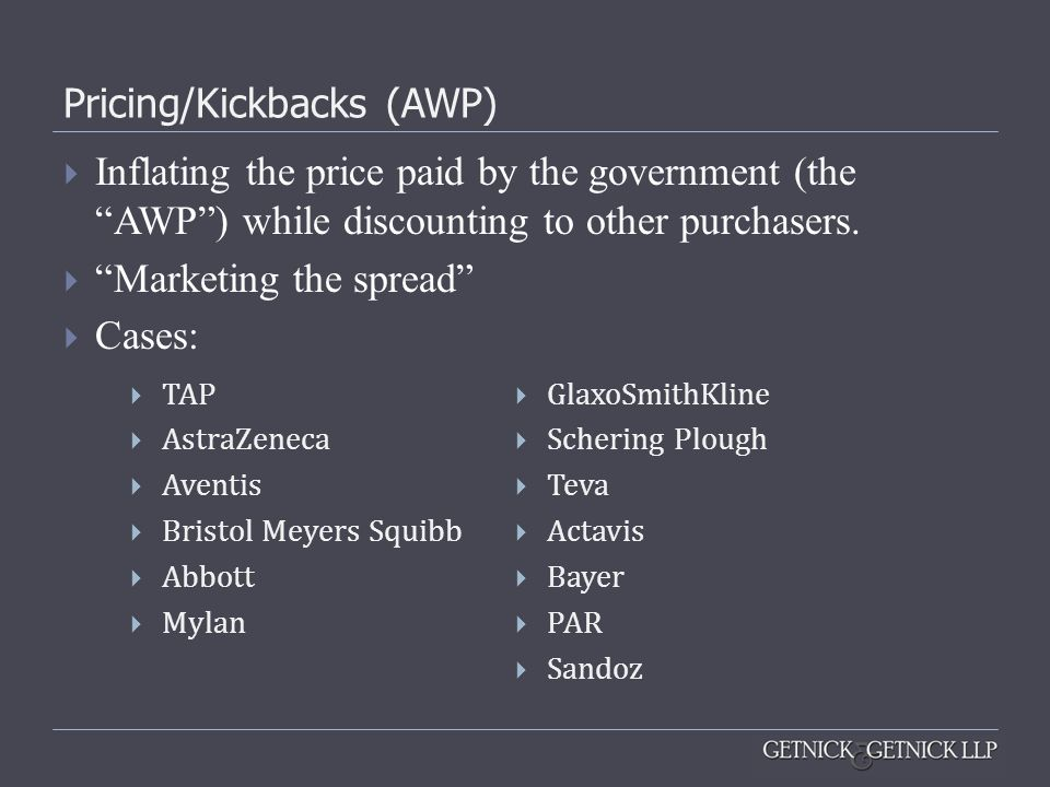 Pricing/Kickbacks (AWP)