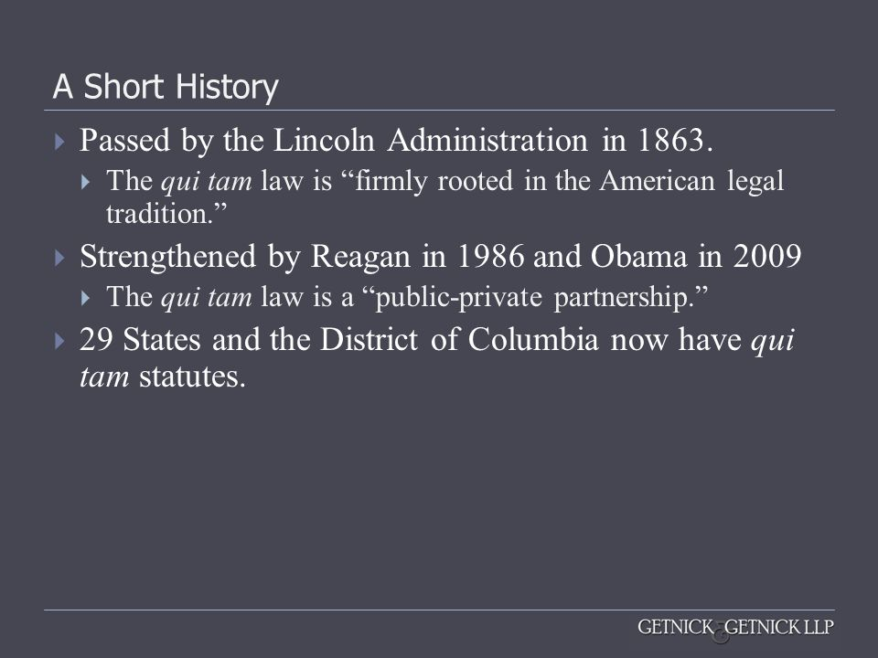 Passed by the Lincoln Administration in 1863.
