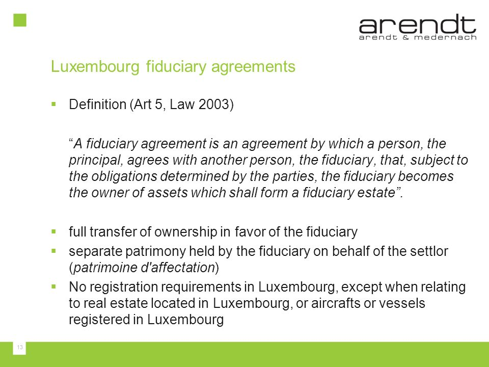 Trusts And Fiduciary Arrangements In Luxembourg Ppt Download