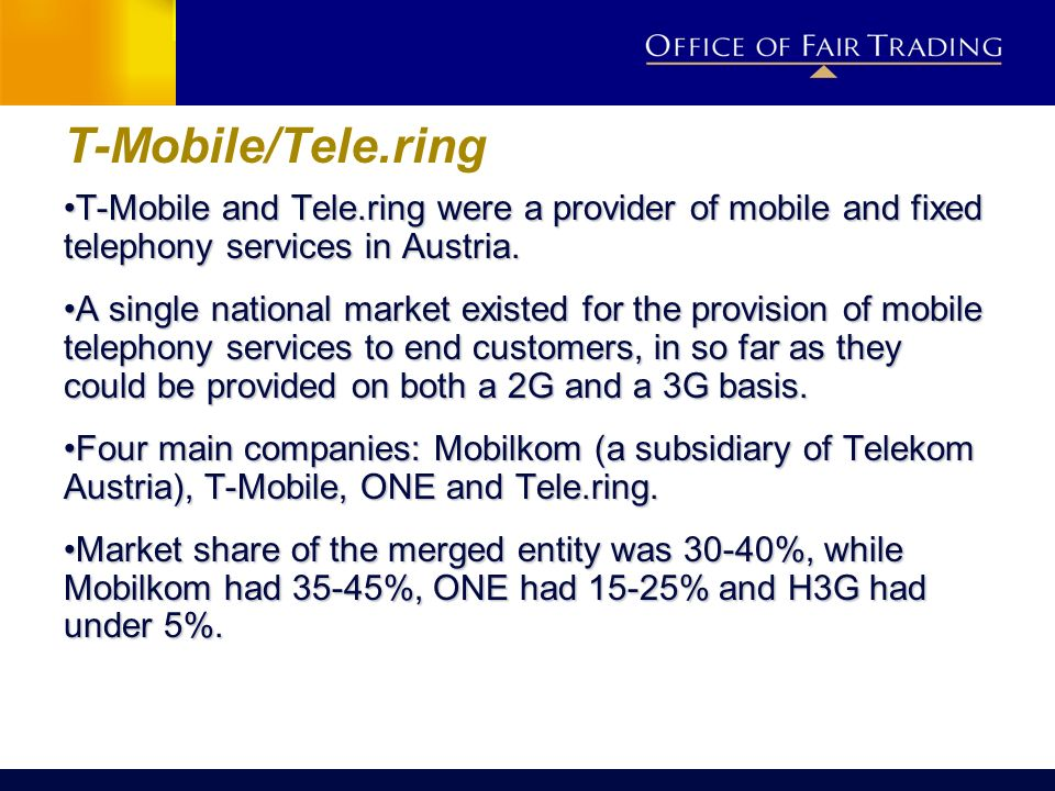 T-Mobile/Tele.ring T-Mobile and Tele.ring were a provider of mobile and fixed telephony services in Austria.