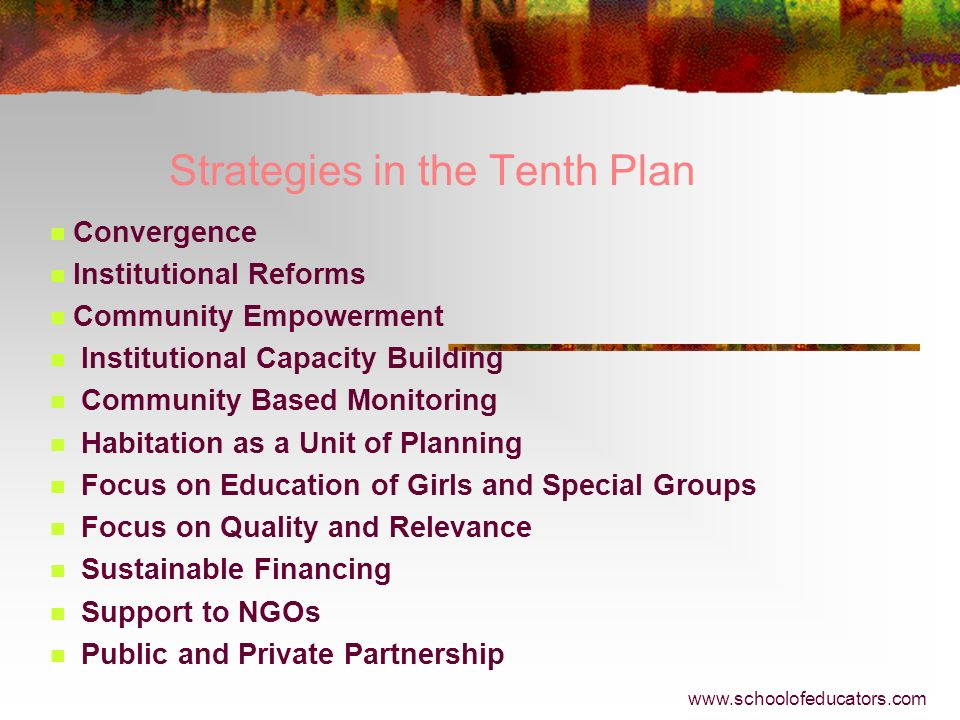Strategies in the Tenth Plan