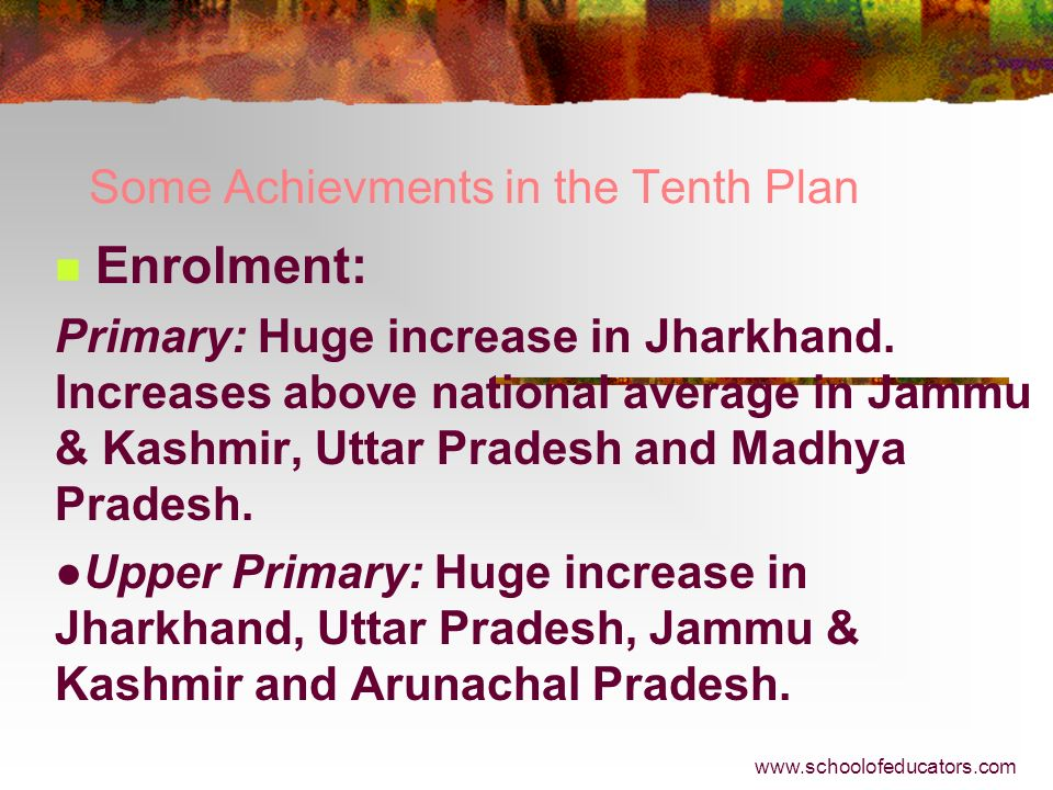 Some Achievments in the Tenth Plan