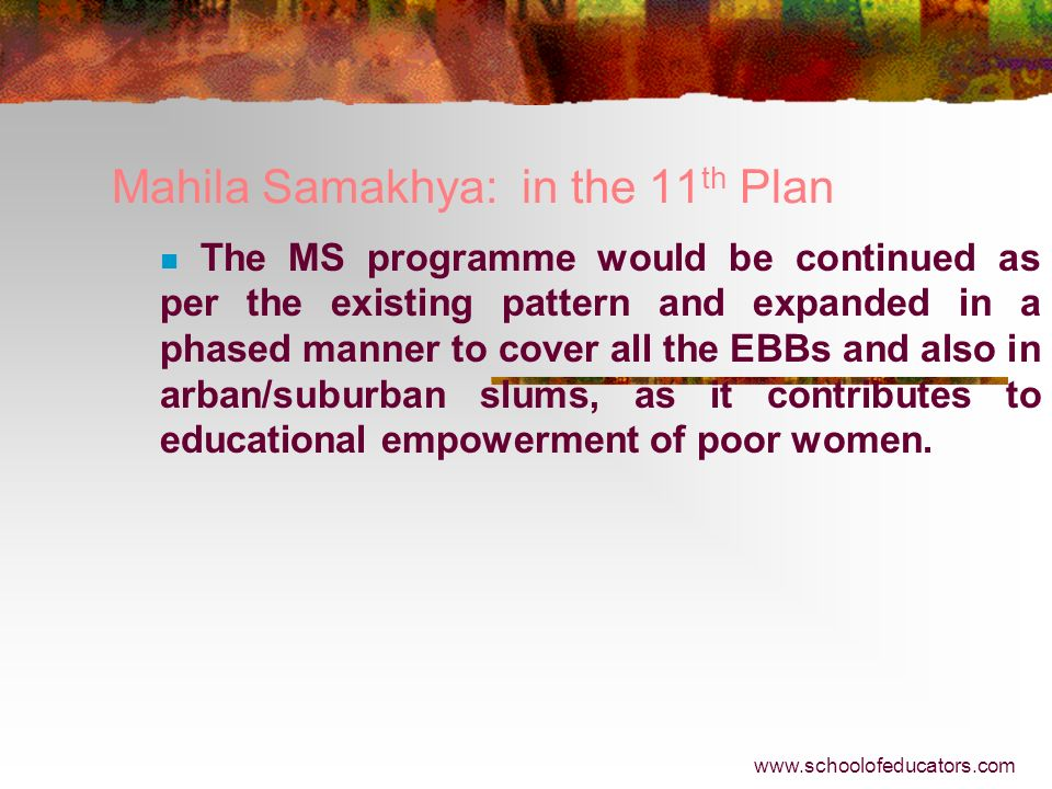 Mahila Samakhya: in the 11th Plan