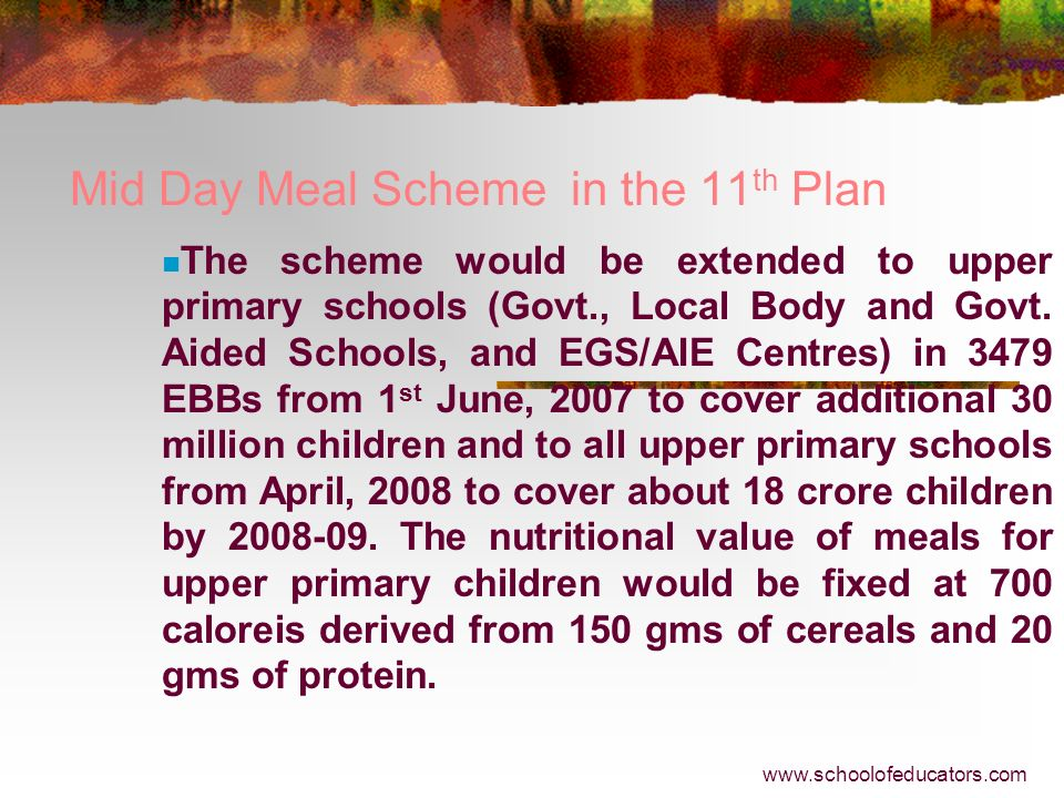 Mid Day Meal Scheme in the 11th Plan