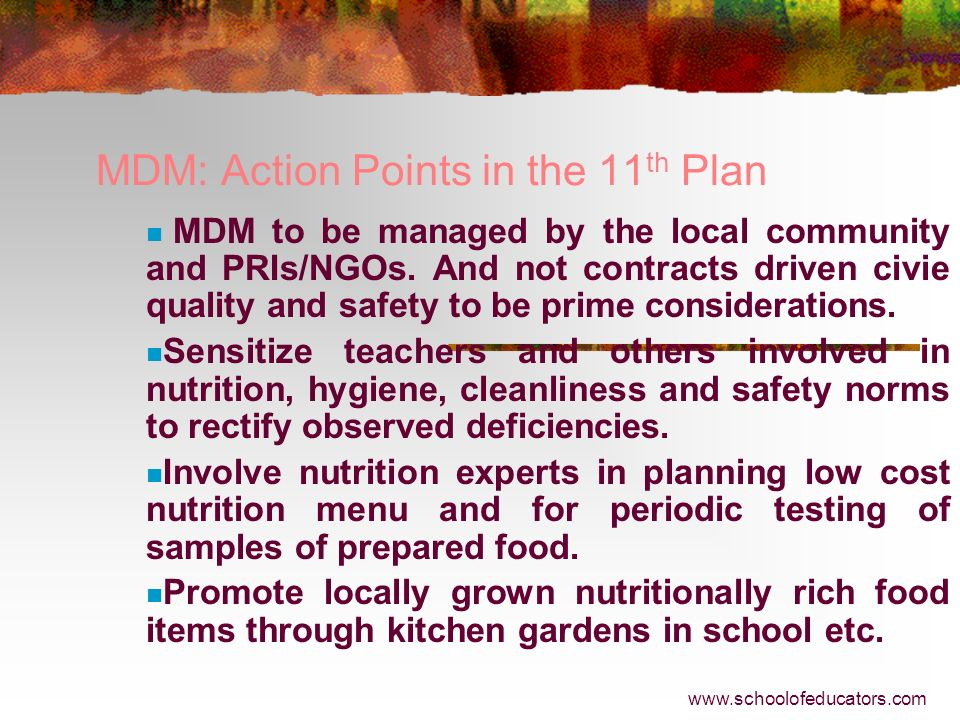 MDM: Action Points in the 11th Plan