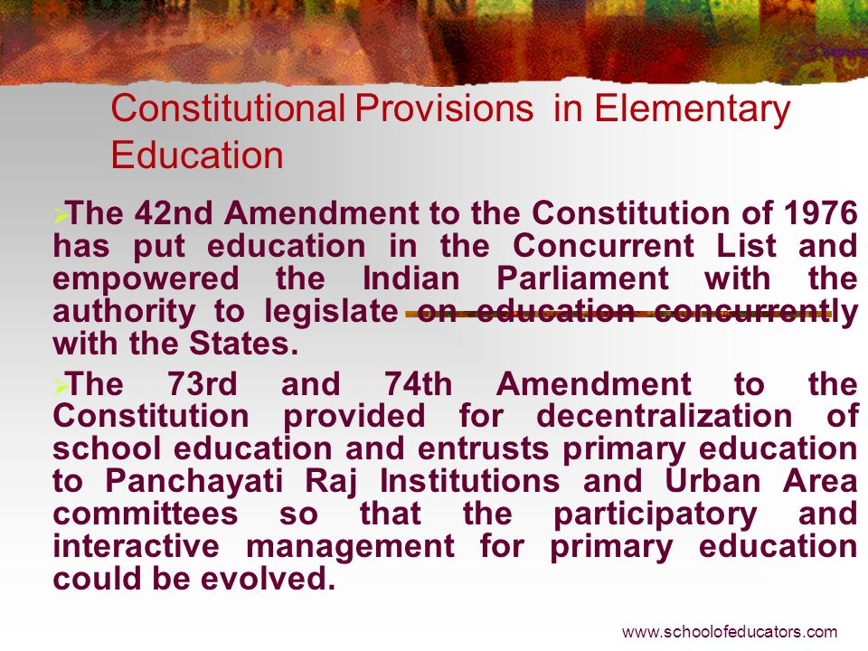 Constitutional Provisions in Elementary Education