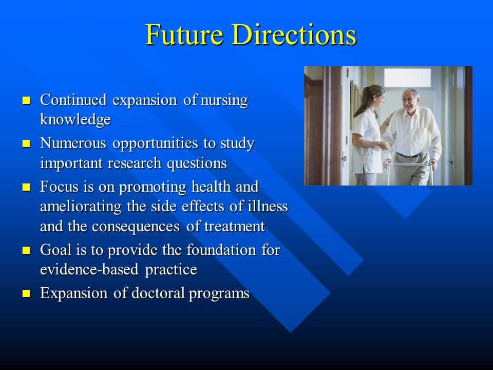 Future Directions Continued expansion of nursing knowledge