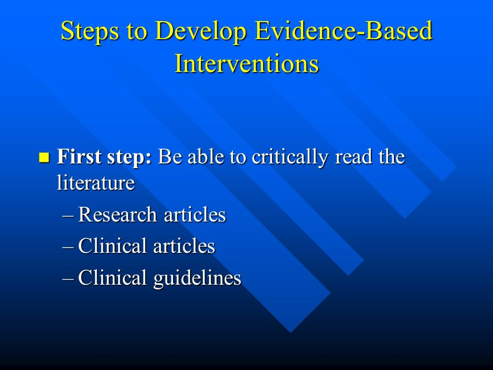 Steps to Develop Evidence-Based Interventions