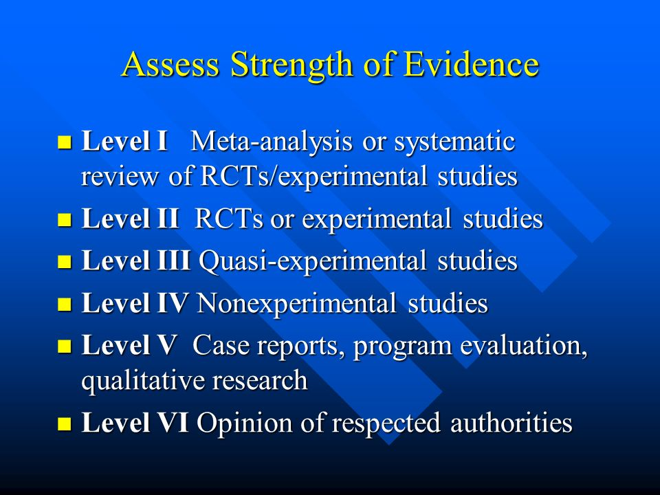 Assess Strength of Evidence