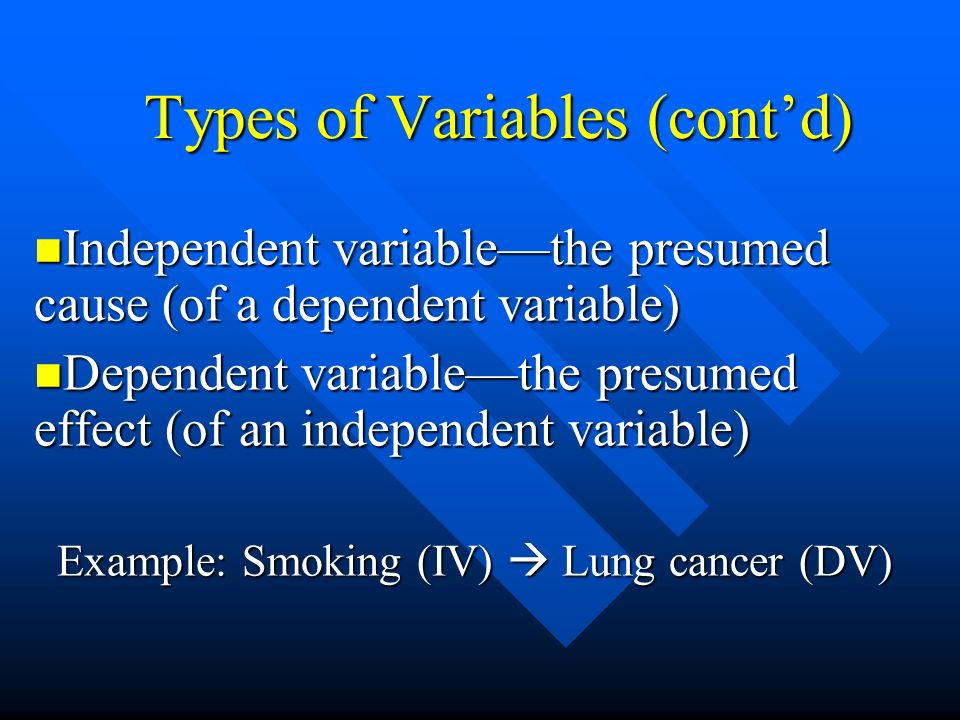Types of Variables (cont'd)