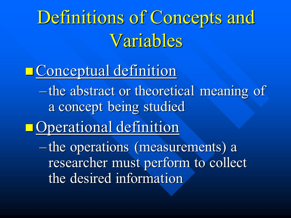 Definitions of Concepts and Variables