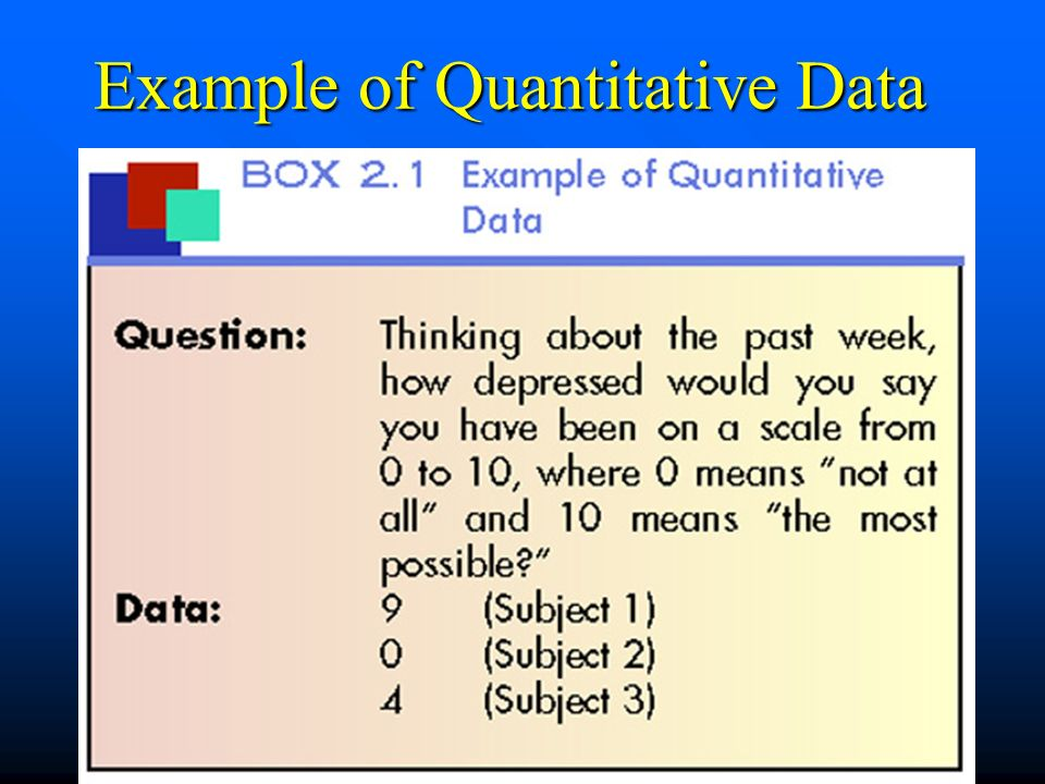 Example of Quantitative Data