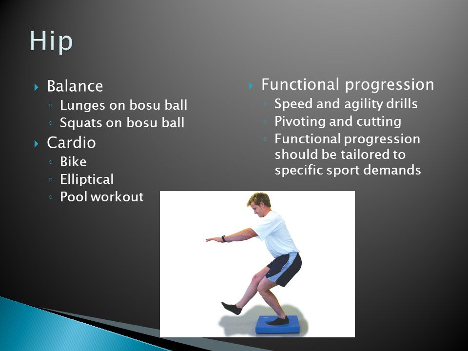 Hip Functional progression Balance Cardio Speed and agility drills