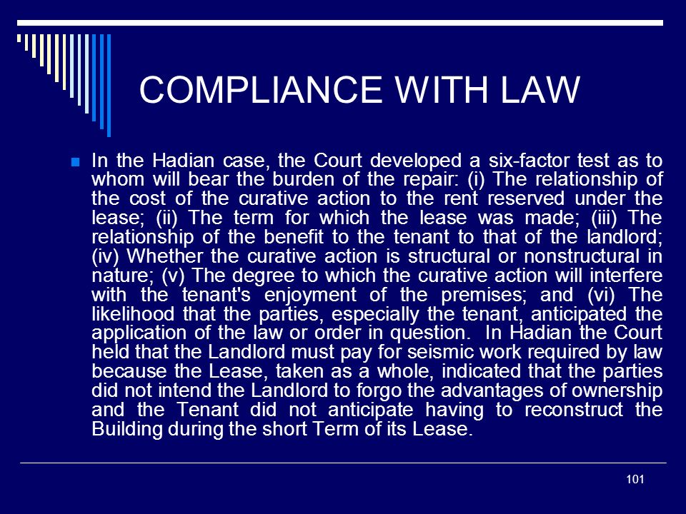 COMPLIANCE WITH LAW