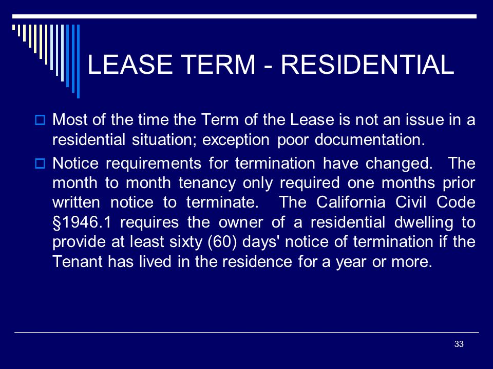 LEASE TERM - RESIDENTIAL