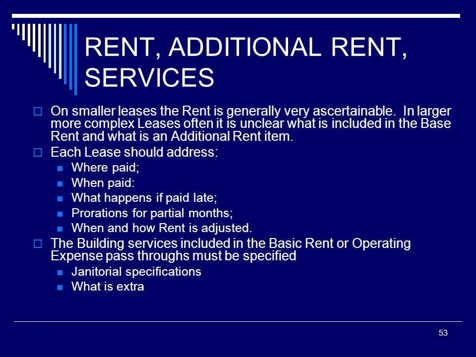 RENT, ADDITIONAL RENT, SERVICES