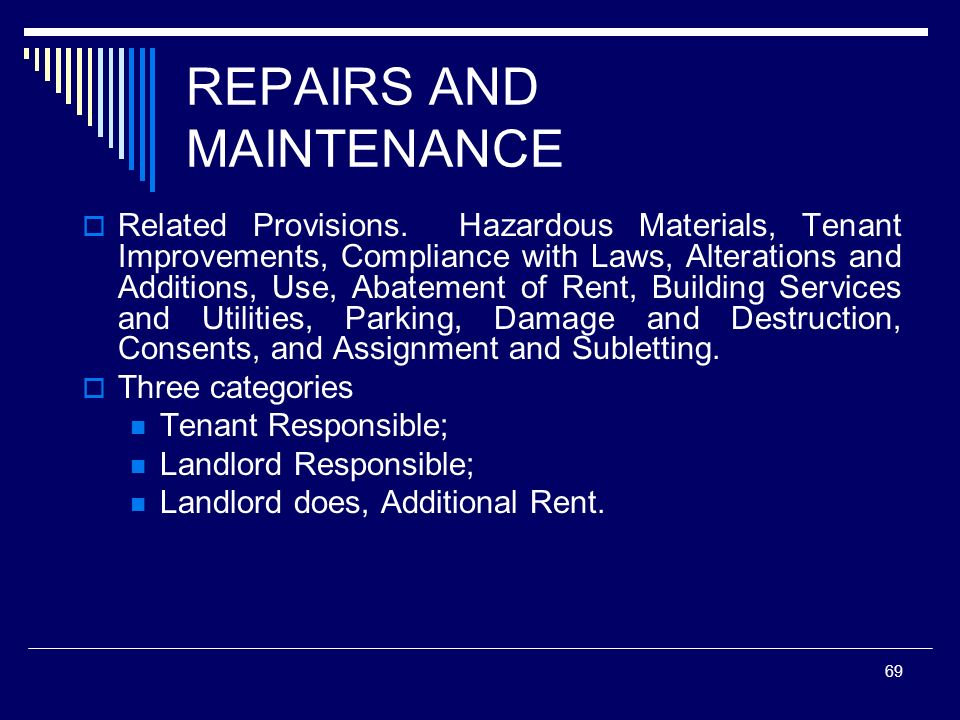 REPAIRS AND MAINTENANCE
