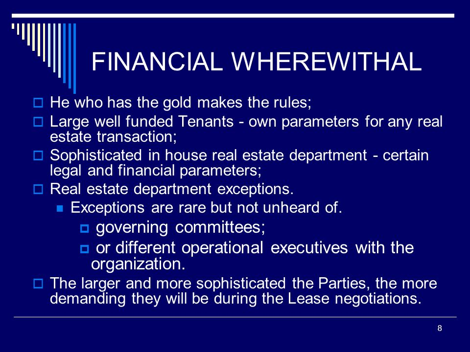 FINANCIAL WHEREWITHAL